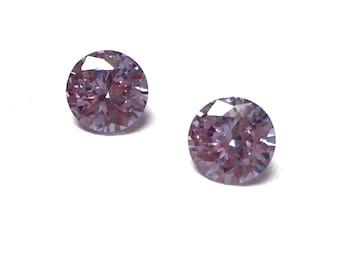 Cubic Zirconia Round Loose Stones. Lavendar. Cut Stones. Faceted CZ. Sweet 16. Bridal. Spring. 10mm. One Pair.
