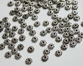 50 Twisted Heishi rondelle daisy spacer beads antique silver 4mm UBI91