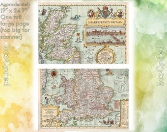 Vintage Atlas Map 1960 Shakespeare's Britain & Britain National Geographic antique full color Map Paper Ephemera Historic 19 x 25 Inch NG29