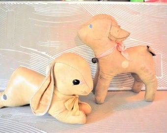 1930's oilcloth stuffed animal toys lamb and bunny, cottage nursery decor, antique lamb,antique bunny rabbit