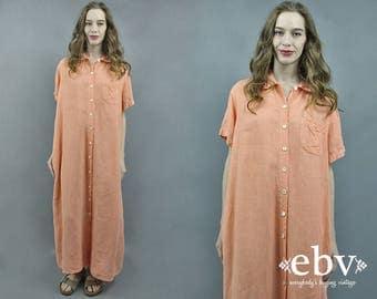 Linen Maxi Dress Peach Dress Orange Dress 90s Maxi Dress Minimal Dress Minimalist Dress 90s Dress 1990s Linen Dress S M L