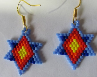 Hand Beaded  Colorful Star earrings