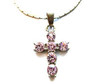 PINK LOVE Rhinestone Cross, Vintage Silvertone Rhinestone Cross, Pink Glam Cross & Neck Chain, Silver Choker Cross Necklace, Teen Gift Cross