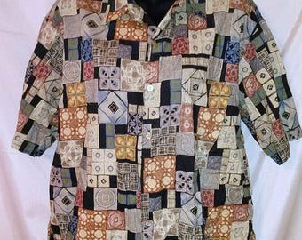 BIG SUMMER SALE 90s Vintage Tori Richard Shirt- Men Man Aloha Hawaiian-Tiki Print-Medium-Resort Luau Cruise Beach