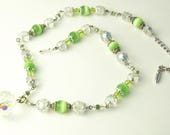 Vintage 1940's Necklace Green Faux Moonstones Beads Heavy Cut Crystals Costume Jewelry Hollywood Glamour Moonstones Gift For Her Best Deal