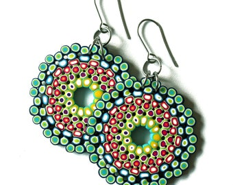 Polymer Clay Earrings, DIY earrings, wearable art, cool earrings, handmade earrings, Polymer clay jewelry, contemporary jewelry, mandala