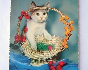 Vintage German Postcard Of Cat With An Easter Basket