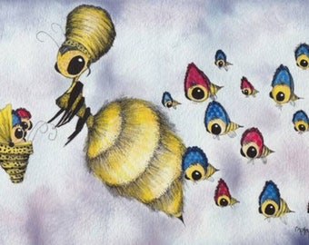 Bee mom, mama, original watercolor art, bees, save the bees, bee babies, bonnets