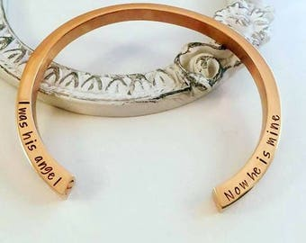 I was his Angel now he is Mine Urn Bracelet - Hand Stamped Cremation Bracelet - Memorial Jewelry - Gold Silver Rose Gold Cremation Bracelet