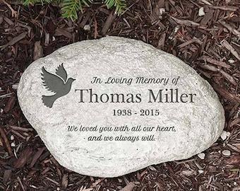 Engraved Stone Personalized In Loving Memory Dove Garden Stone Custom Name Gift