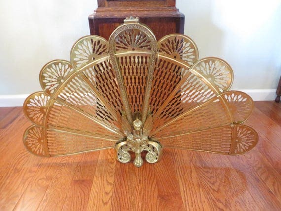 Vintage Brass Fireplace Screen Brass Peacock Fan Fireplace