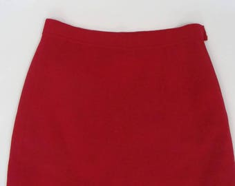true red BUTTE KNIT SKIRT straight cut 1960's 60's S