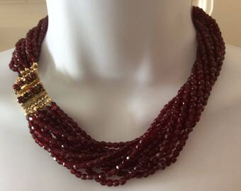 Original Authentic Signed *Germany Christian Dior* Multi Strand Garnet Necklace