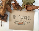 Pumpkin Pie greeting card / Thanksgiving, Fall, Thinking of you, Thankful