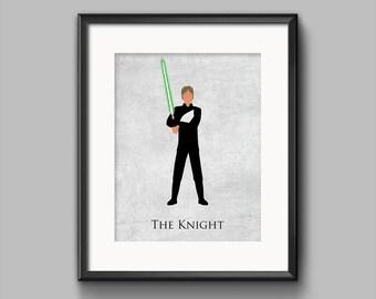 Star Wars Return of the Jedi - The Knight - Luke Skywalker Art Print - jedi, poster, rebel, lightsaber