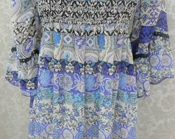 Hippie Kleid Tunika Paisley Boheme vintagedress art and craft recyclingfashion