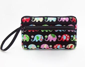 Elephant zipper pouch, Wristlet wallet, Cosmetic bag, Cell phone bag, iPhone wallet case, Cotton zipper clutch, Black clutch