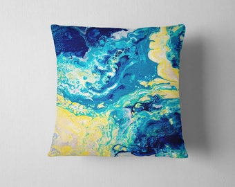Yellow & Blue Cushion - Blue and Yellow Abstract Square Marbled Cushion Based on Original Abstract Fluid Painting by Louise Mead