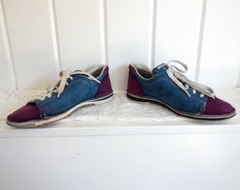 Vintage Blue & Purple Retro Dexter Suede Leather Lace Up 1970s Big Lebowski BOWLING SHOES Oxfords  Women's 9