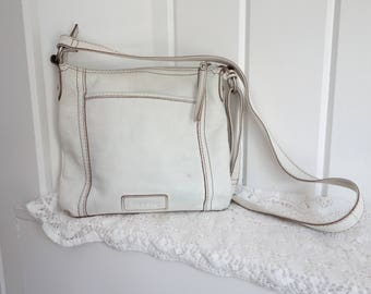 Vintage WHITE Distressed Coach Leather Purse Crossbody Cross Body Shoulder Bag With Key Fob