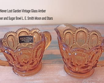 Sugar Bowl and Creamer L.E. Smith Moon and Stars Amber Vintage
