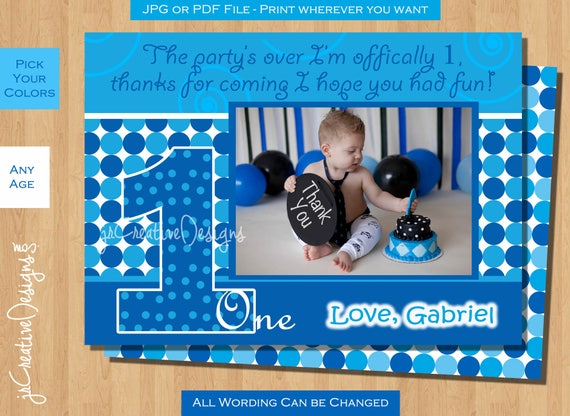 Boy Thank You Card Everything One Boy Birthday Thanks 1st Birthday