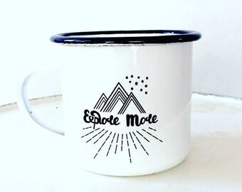 Camp Mug, Explore,  Explore Mug, Outdoor Explorer, Outdoor Adventurer White Mug Enamel Mug