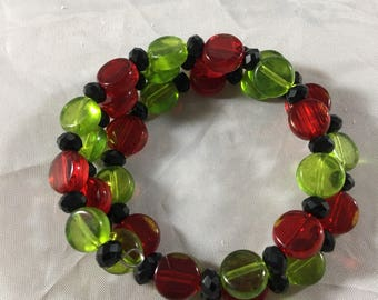 Red green and black beaded bracelet