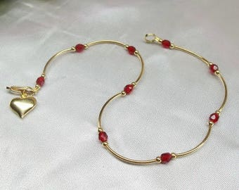 Red Crystal Ruby Anklet Gold Ruby Ankle Bracelet Girls Red Crystal Ankle Bracelet Gold Heart Anklet Red Anklet Girls Anklet BuyAny3+Get1Free