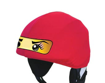 Nya ninja universal size Evercover ski, snowboard, bike, cycling, riding, rafting helmet cover, with red ninja face, fancy dress and costume