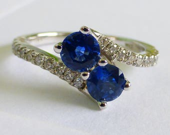 14k Ceylon Sapphire and Diamond Moi et Toi engagement ring