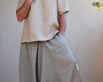 Striped Men's Harem pants with pockets. Drop Crotch, Loose fit, Baggy, Wide leg pants, Mens yoga pants, Sarouel Homme, Gray and Blue strips