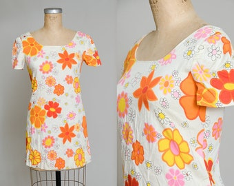 60s Pop Art Psychedelic Floral Neon Novelty Print Mini Dolly Dress