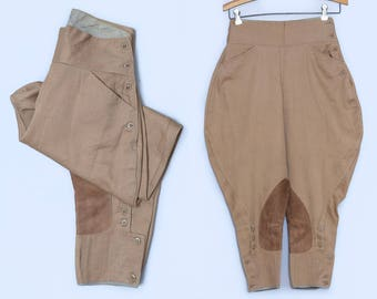 1940s Equestrian Riding Pants Brown Whipcord and Leather Jodhpurs Pants