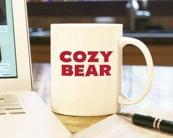 Cozy Bear Fancy Bear Russian Hacker Gift Present Ceramic Coffee Mug Cup Custom Color Espionage Spying on Election Russia Putin Internet