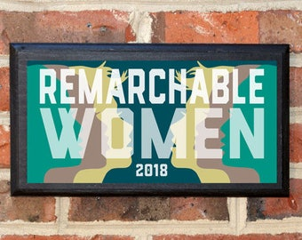 Women's 1st Anniversary March 2018 Wall Art Sign Plaque Gift Present Vintage Style Home Decor Woman Female Trump Protest Resist Remarchable