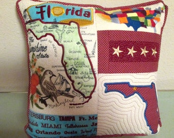 Custom Pillow, Your State Embroidered Pillow, Handmade State Pillow, Choice of 50 States Personalized Throw Pillow, State Logo, Hostess Gift