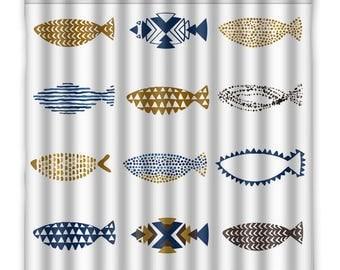 Modern Fish Shower Curtain   Beach House Decor   Nautical Shower Curtain    Blue And Gold