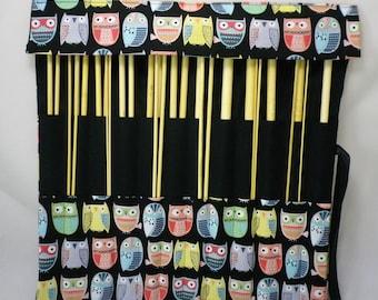 Straight Knitting needle organiser. Knitting needle roll. Owl  fabric