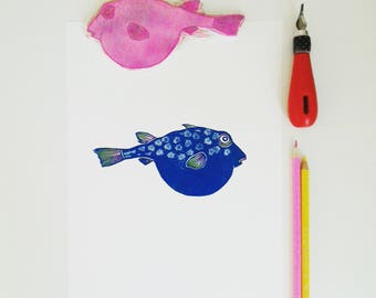 Moon fish handprinted limited edition