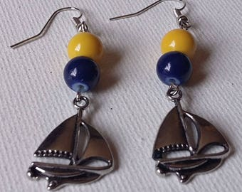Blue and Yellow Beaded Sailboat earrings