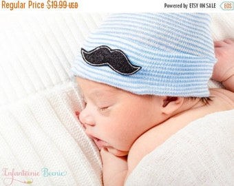 SALE 25% OFF MUSTACHE Newborn Hat, newborn hospital hat for boys, newborn boy hat, boy hospital hat, boy hospital hat, boy newborn hat, boy