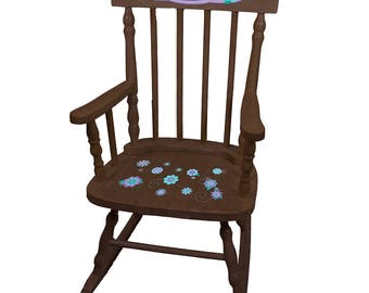 Personalized Florascope Espresso Childrens Rocking Chair Lavender Teal Aqua Turquoise Purple Lilac spin-esp-326