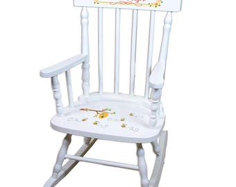 Personalized White Childrens Rocking Chair with Honey Bees Design-spin-whi-338