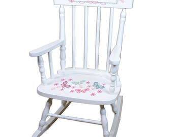 Personalized White Childrens Rocking Chair with Aqua Butterflies Design-spin-whi-300c