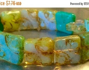 ON SALE Czech Yin Yang Bead Mix Turquoise and Green Opalene with Picasso Finish 1 Strand