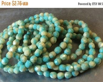 ON SALE Czech Fire Polish 6mm Round Turquoise Beige Mix 1 Strand