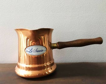 Vintage Copper Sauce Pot / 1980's Long Handle French Sauce Pot / Chocolate Pot / French Country Kitchen