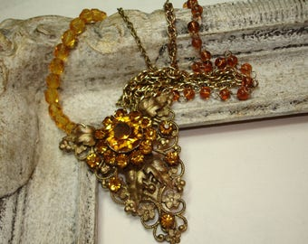 Golden Rhinestone Necklace - Upcycled Vintage Dress Clip - Multi Chain and Beaded Necklace -Vintage Assemblage Necklace- Amber Gold
