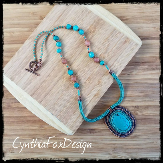 Turquoise Necklace with Peach Druzy and Copper, Beaded Turquoise Pendant